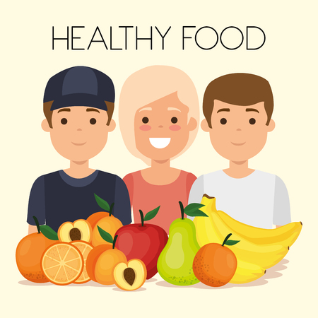 young people with fruits healthy food vector illustration design Banque d'images - 111986303