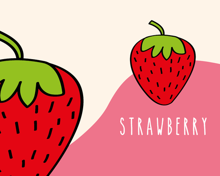 strawberries fruit tropical fresh natural on colored background vector illustration