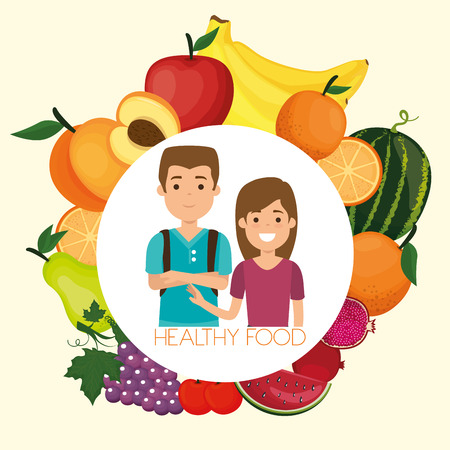 young people with fruits healthy food vector illustration design Banque d'images - 111986309