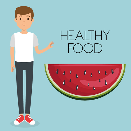 young man with watermelon healthy food vector illustration design