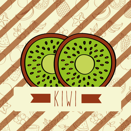 striped background with delicious fresh kiwi vector illustration Çizim