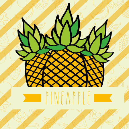 striped background with delicious fresh pineapple vector illustration