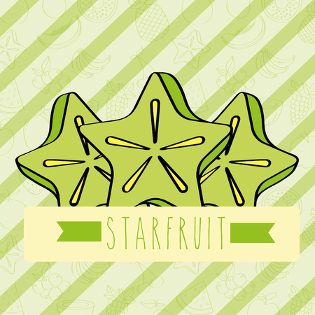 striped background with delicious fresh carambola vector illustration Illustration