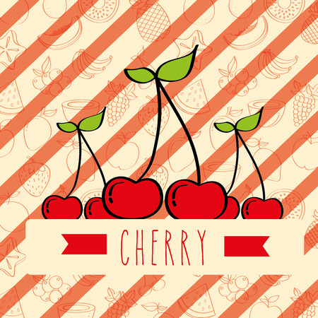 striped background with delicious fresh cherry vector illustration Çizim