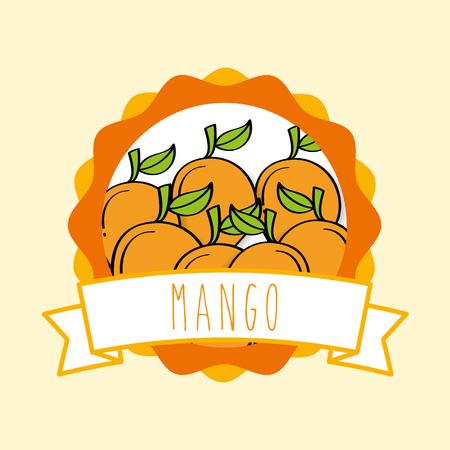fresh mango natural fruit organic emblem vector illustration