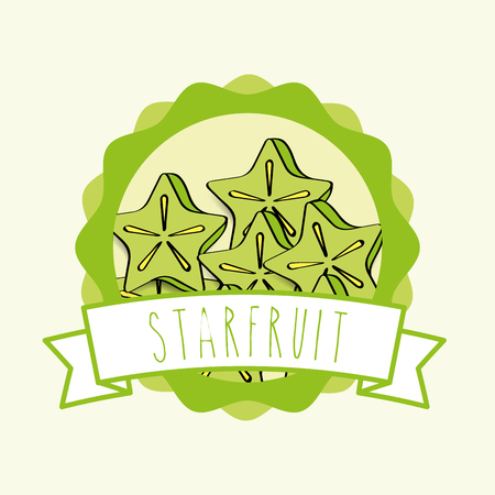 fresh carambola natural fruit organic emblem vector illustration Иллюстрация