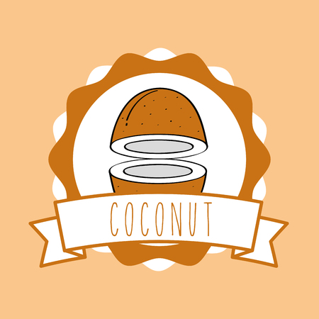 fresh coconut natural fruit organic emblem vector illustration Иллюстрация