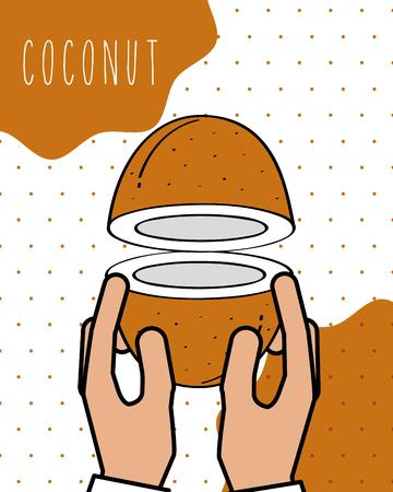 hands holding fresh coconut natural background vector illustration Illustration