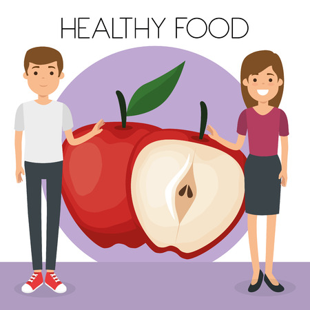 young couple with apples healthy food vector illustration design Banque d'images - 106450147