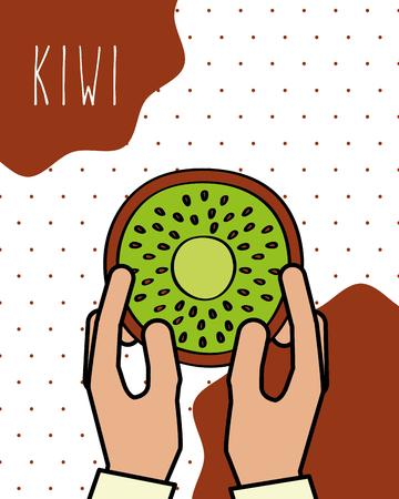 hands holding kiwi fresh natural dots background vector illustration