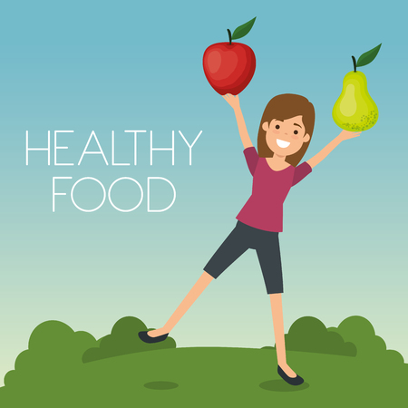 young woman with fruits healthy food vector illustration design Banque d'images - 111986344