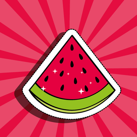 fresh watermelon delicious fruit drawing sticker image vector illustration