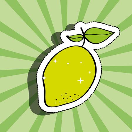fresh lemon delicious fruit drawing sticker image vector illustration