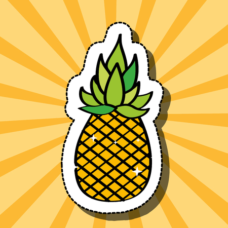 fresh pineapple delicious fruit drawing sticker image vector illustration Stok Fotoğraf - 111986349