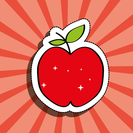 fresh apple delicious fruit drawing sticker image vector illustration