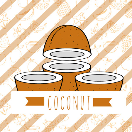 striped background with delicious fresh coconut vector illustration
