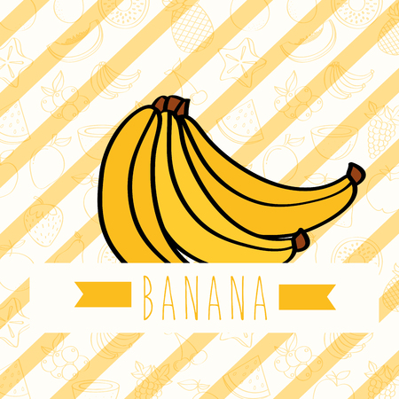 striped background with delicious fresh banana vector illustration