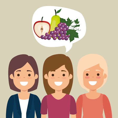 young women with fruits healthy food vector illustration design Banque d'images - 106459828