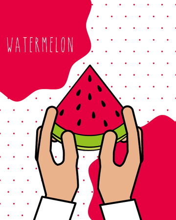 hands holding fresh watermelon natural dots background vector illustration