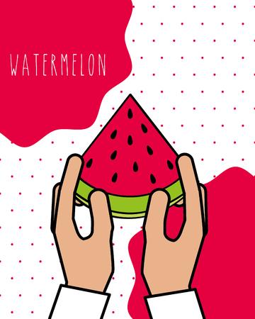 hands holding fresh watermelon natural dots background vector illustration Imagens - 106459852