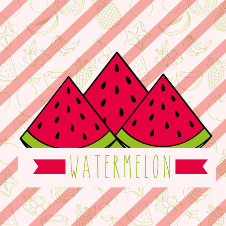 striped background with delicious fresh watermelon vector illustration