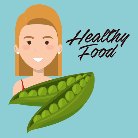 young woman with string beans healthy food vector illustration design Illustration