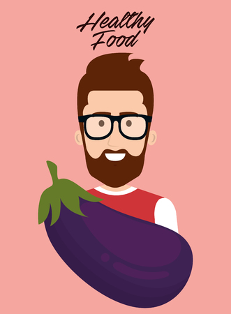 young man with eggplant healthy food vector illustration design Çizim