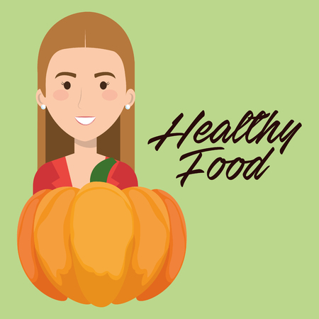 young woman with pumpkin healthy food vector illustration design 向量圖像