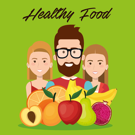 young people with fruits healthy food vector illustration design