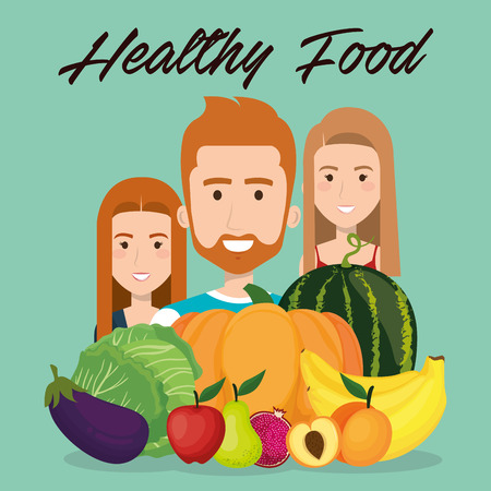 young people with fruits and vegetables vector illustration design Banque d'images - 111986364