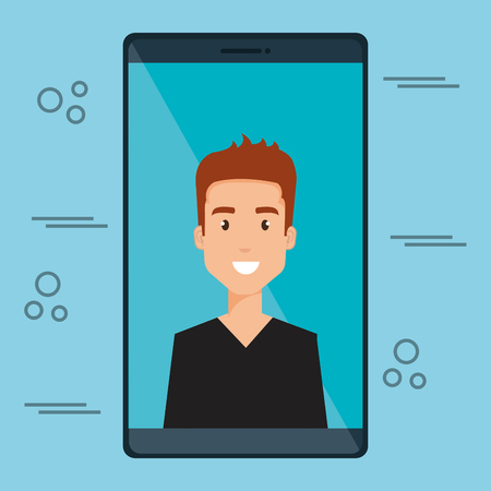 man with smartphone character vector illustration design Stock Vector - 111986371