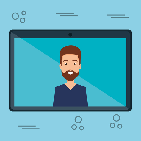 man with tablet character vector illustration design Illustration