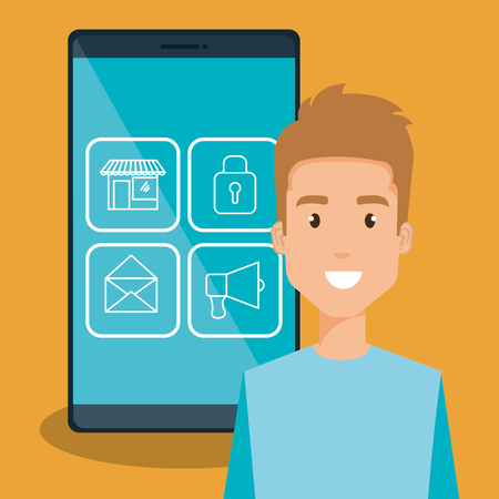 man with smartphone character vector illustration design
