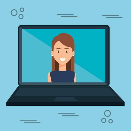 woman with laptop character vector illustration design Stock fotó - 106452088