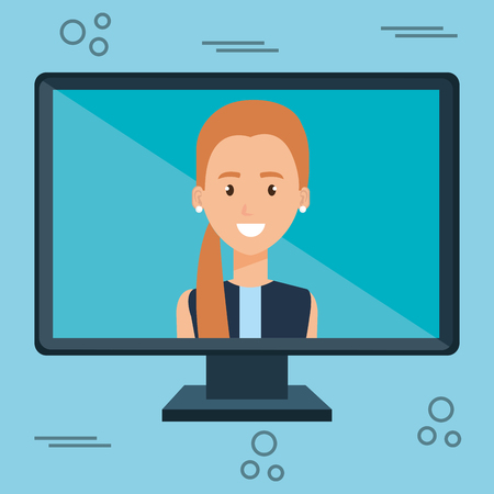 woman with computer character vector illustration design