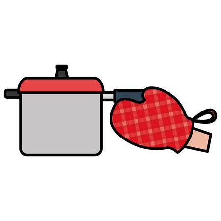 glove kitchen with pot vector illustration design Illustration