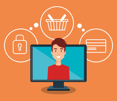 man with computer character vector illustration design
