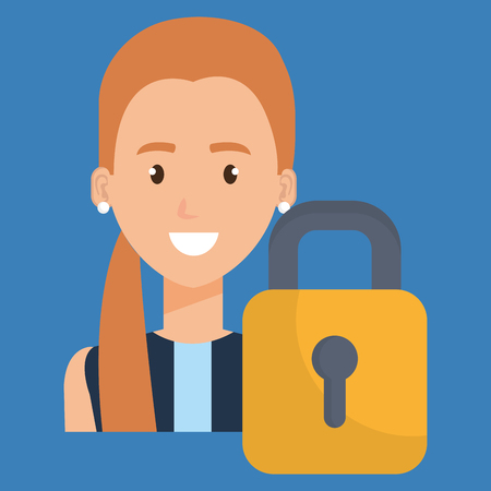 young woman with padlock character vector illustration design