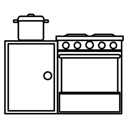 kitchen oven with pot and drawer vector illustration design