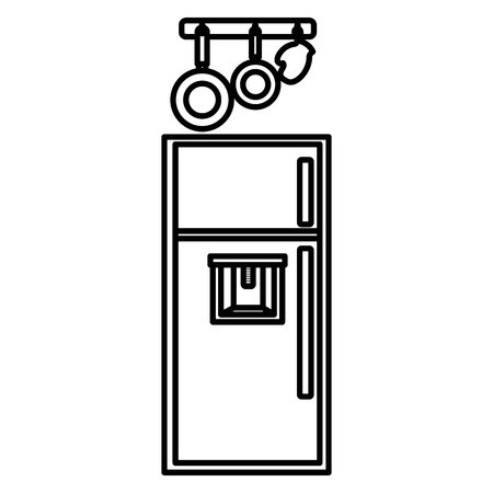 kitchen fridge with utensils hanging vector illustration design Stock Illustratie