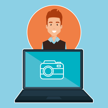 man with laptop character vector illustration design
