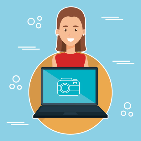 woman with laptop character vector illustration design