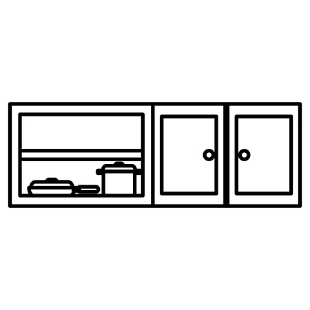 kitchen shelving wooden with utensils vector illustration design