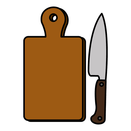 kitchen wooden board with knife vector illustration design Stock fotó - 111986428