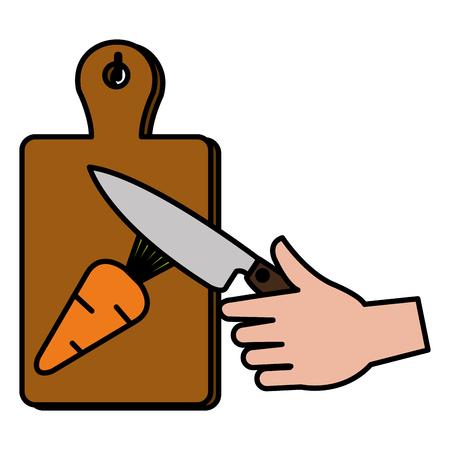Placa de madera de cocina con diseño de ilustración de vector de zanahoria de corte de cuchillo