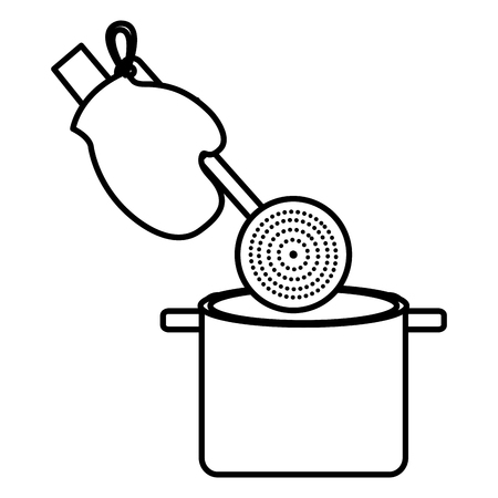 glove kitchen with spoon and pot vector illustration design