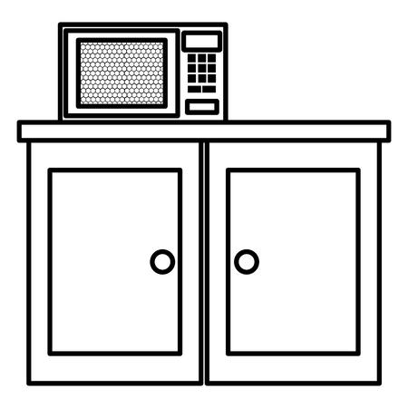 Cassetto da cucina in legno con disegno di illustrazione vettoriale di forno a microonde