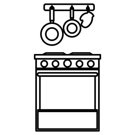 keukenoven met bestek hangend vector illustratieontwerp