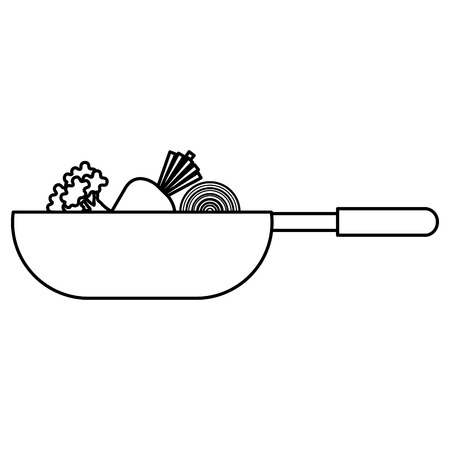 pan cooking vegetables icon vector illustration design