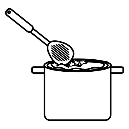 kitchen pot and spoon cooking soup vector illustration design